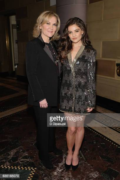 Designer Sherri Hill and Danielle Campbell attends the Sherri Hill NYFW Fall 2017 Runway Show at Gotham Hall on February 13 2017 in New York City