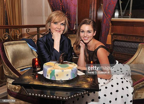Designer Sherri Hill and Sadie Robertson attend an Evening By Sherri Hill fashion show after party during MercedesBenz Fashion Week Spring 2014 at...