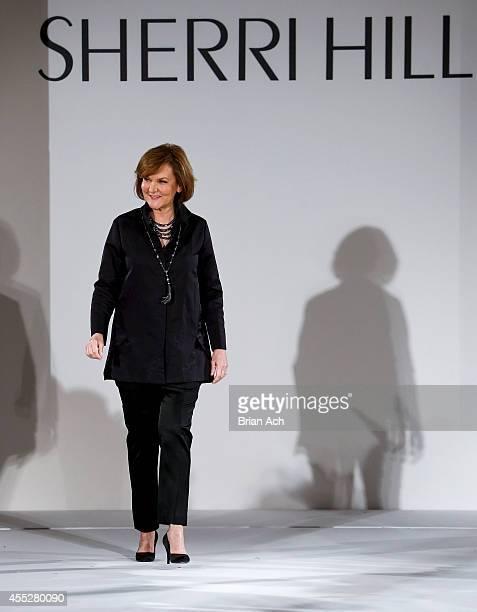 bed63eca64c Designer Sherri Hill walks the runway during the Sherri Hill runway show  during MercedesBenz Fashion Week