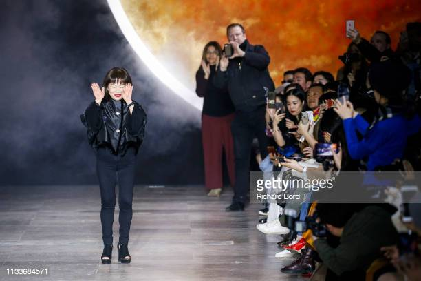 Designer Shiatzy Chen acknowledges the audience after the Shiatzy Chen show as part of the Paris Fashion Week Womenswear Fall/Winter 2019/2020 on...
