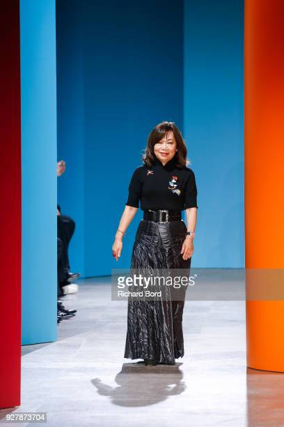 Designer Shiatzy Chen acknowledges the audience after the Shiatzy Chen show as part of the Paris Fashion Week Womenswear Fall/Winter 2018/2019 on...