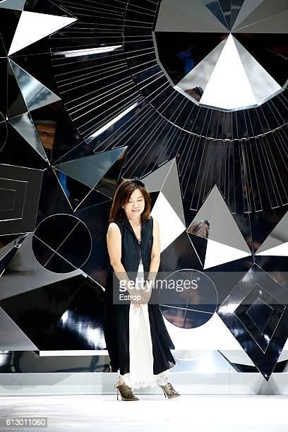 Designer Shiatzy Chen walks the runway during the Shiatzy Chen show as part of the Paris Fashion Week Womenswear Spring/Summer 2017 on October 4 2016...