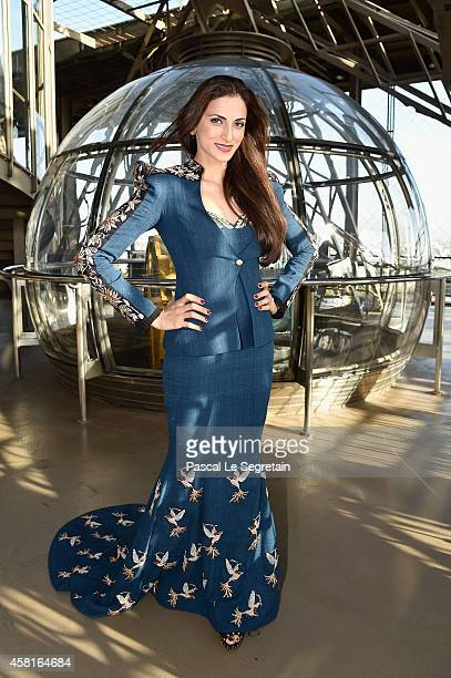 Designer Shilpa Reddy poses during the JAutumn Fashion Show 2014 at Eiffel Tower on October 31 2014 in Paris France