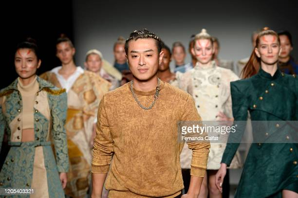 Designer Shun Oyama walks the runway for Shun Oyama Tokyo at Global Fashion Collective II during New York Fashion Week The Shows at Pier 59 Studios...