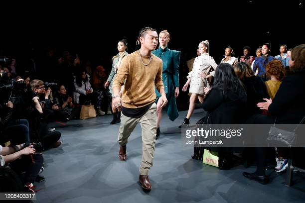 Designer Shun Oyama walks the runway for Shun Oyama Tokyo Global Fashion Collective II during New York Fashion Week The Shows at Pier 59 Studios on...