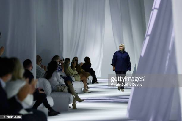 Designer Silvia Venturini Fendi acknowledeges the applause of the audience at the Fendi fashion show during the Milan Women's Fashion Week on...