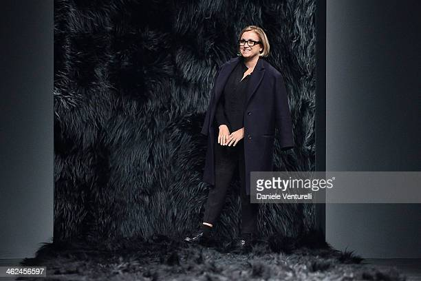 Designer Silvia Venturini Fendi acknowledges the applause of the public after the Fendi show as a part of Milan Fashion Week Menswear Autumn/Winter...