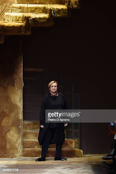 Designer Silvia Venturini Fendi walks the runway after the Fendi show during Milan Men's Fashion Week Fall/Winter 2016/17 on January 18, 2016 in...