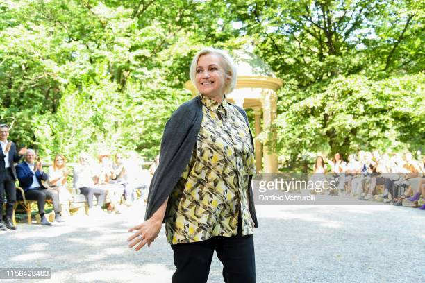 Designer Silvia Venturini Fendi walks the runway at the Fendi fashion show during the Milan Men's Fashion Week Spring/Summer 2020 on June 17, 2019 in...
