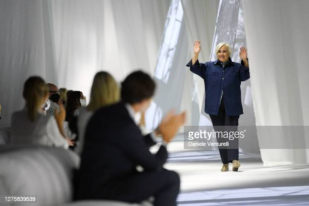 Designer Silvia Venturini Fendi walks the runway at the Fendi fashion show during the Milan Women's Fashion Week on September 23, 2020 in Milan,...
