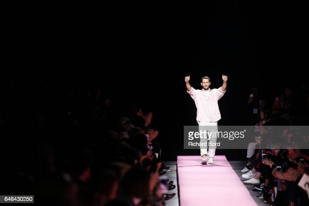 Designer Simon Jacquemus acknowledge the audience after the Jacquemus show as part of the Paris Fashion Week Womenswear Fall/Winter 2017/2018 on...