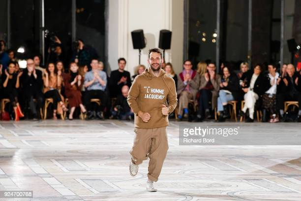 Designer Simon Jacquemus acknowledges the audience after the Jacquemus show at Petit Palais as part of the Paris Fashion Week Womenswear Fall/Winter...