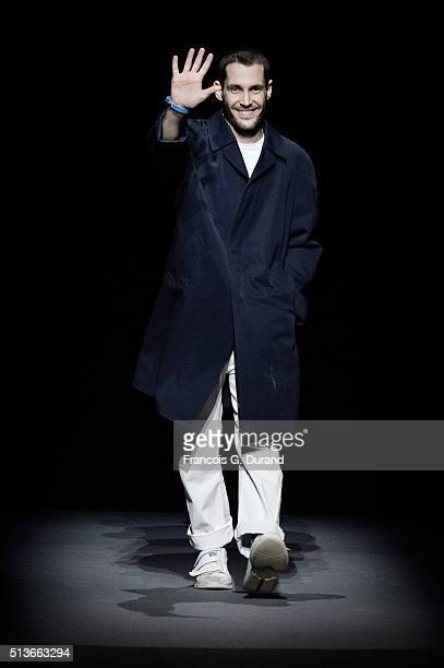 Designer Simon Porte Jacquemus acknowledges the audience applause during the Jacquemus show as part of the Paris Fashion Week Womenswear Fall/Winter...