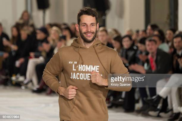 Designer Simon Porte Jacquemus acknowledges the audience during the Jacquemus show as part of the Paris Fashion Week Womenswear Fall/Winter 2018/2019...