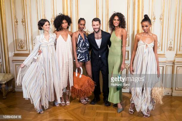 Designer Simon Porte Jacquemus and models pose on the runway during the Jacquemus show at the Italy embassy as part of the Paris Fashion Week...