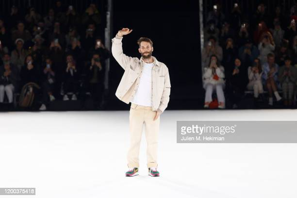 Designer Simon Porte Jacquemus greet guests during the Jacquemus Menswear Fall/Winter 2020-2021 show as part of Paris Fashion Week on January 18,...