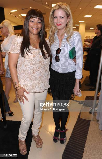 Designer Simone I Smith and actress Lauren Storm attend a personal appearance by Simone I Smith at Bloomingdale's on May 12 2011 in Century City...