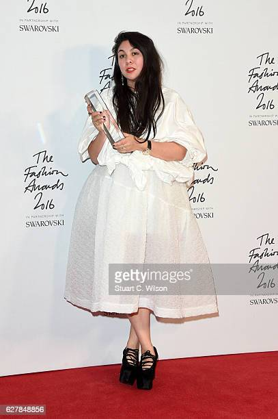 Designer Simone Rocha poses in the winners room after winning the award for British womenswear designer at The Fashion Awards 2016 at Royal Albert...