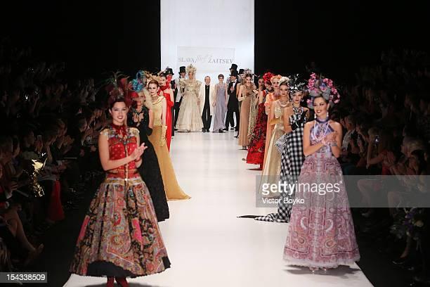 Designer Slava Zaitsev joins models on the runway for the finale of the Slava Zaitsev Spring/Summer 2013 show on day 1 of MercedesBenz Fashion Week...