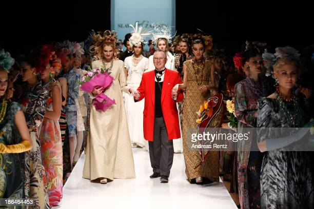 Designer Slava Zaitsev on the runway at the SLAVA ZAITSEV Haute Couture show during MercedesBenz Fashion Week Russia S/S 2014 on October 31 2013 in...