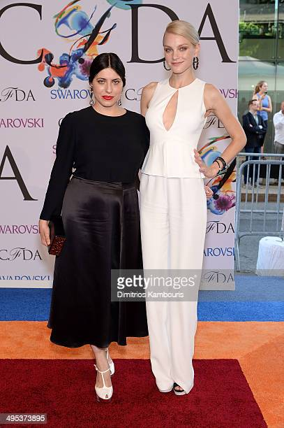 Designer Sofia Sizzi and model Jessica Stam attend the 2014 CFDA fashion awards at Alice Tully Hall Lincoln Center on June 2 2014 in New York City