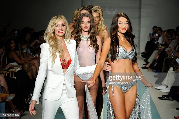 Designer Solveig Cirone walks the runway with models at Cirone Swim Runway Show during Art Hearts Fashion Miami Swim Week Presented by AIDS...