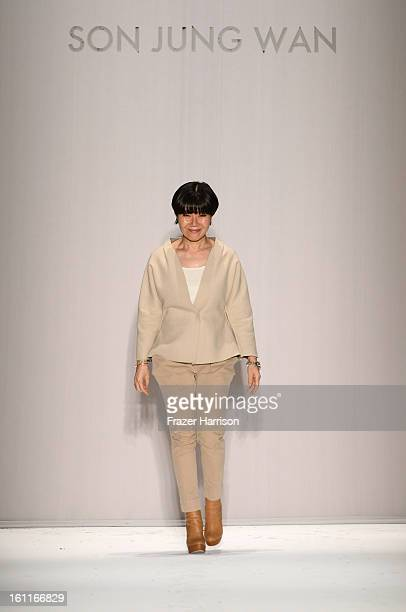 Designer Son Jung Wan poses on the runway at the Son Jung Wan Fall 2013 fashion show during MercedesBenz Fashion Week at The Studio at Lincoln Center...