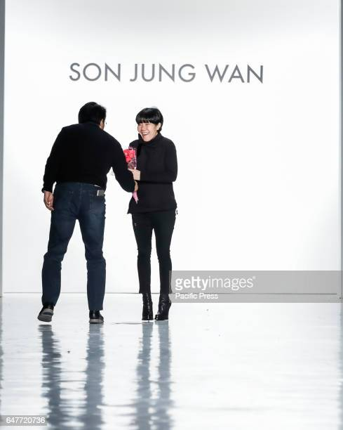 Designer Son Jung Wan walks runway for Son Jung Wan Fall/Winter 2017 collection runway show during New York Fashion Week at Skylight Clarkson Sq.,...