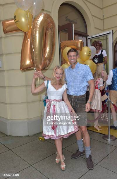 Designer Sonja Kiefer and her partner Cedric Schwarz during the 70th anniversary celebration of the clothing company Angermaier at Deutsches Theatre...