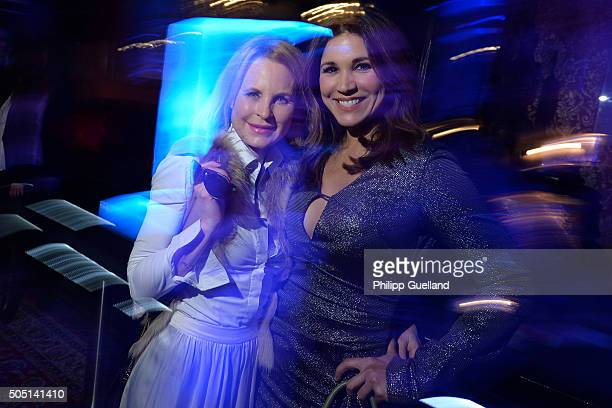 Designer Sonja Kiefer and TVhost Karen Webb pose during the Rodenstock Porsche Design 15th year anniversary party at P1 on January 15 2016 in Munich...