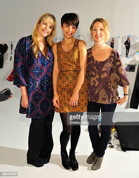 Designer Sophia Coloma model Ceren Alkac and designer Marissa Ribisi attend the Fall 2009 presentation of Whitley Kros at Miauhaus on March 15 2009...