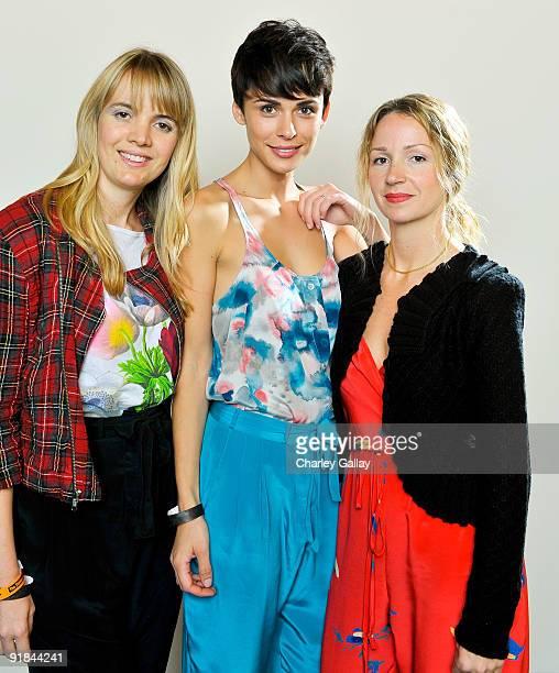 Designer Sophia Coloma model Ceren Alkac and designer Marissa Ribisi pose for a portrait at Fashion Group International of Los Angeles' Meet The...