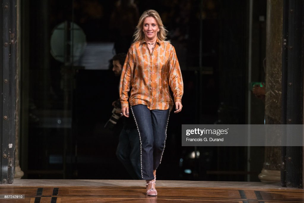 Designer Sophie Albou walks the runway during the Paul & Joe Paris show as part of the Paris Fashion Week Womenswear Spring/Summer 2018 on October 3, 2017 in Paris, France.