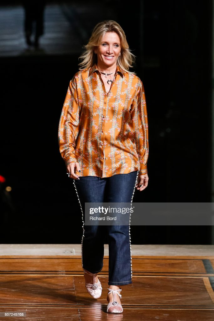 Designer Sophie Mechaly walks the runway during the Paul & Joe show at Palais des beaux Arts as part of Paris Fashion Week Womenswear Spring/Summer 2018 on October 3, 2017 in Paris, France.