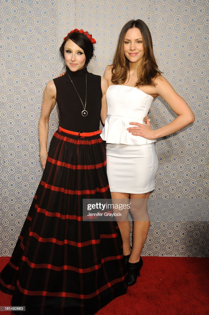 Designer Stacey Bendet and actress Katharine McPhee pose at the Alice + Olivia By Stacey Bendet Fall 2013 fashion show presentation during Mercedes-Benz Fashion Week at Highline Stages on February 11, 2013 in New York City.