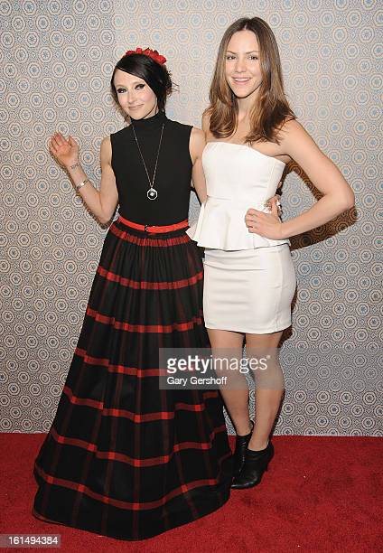 Designer Stacey Bendet and actress/singer Katharine McPhee attend the Alice Olivia By Stacey Bendet presentation during Fall 2013 MercedesBenz...