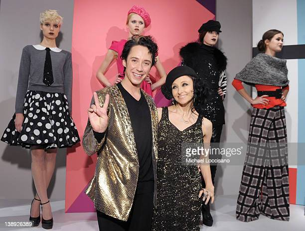 Designer Stacey Bendet and figure skater Johnny Weir attend the Alice Olivia By Stacey Bendet Fall 2012 Fashion Week Presentation at Center 548 on...