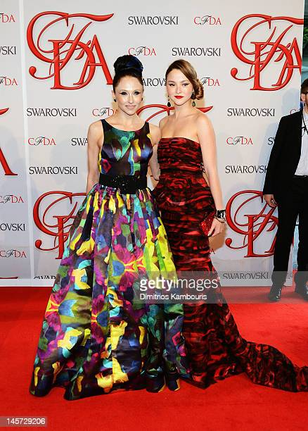 Designer Stacey Bendet and model Devon Aoki attend the 2012 CFDA Fashion Awards at Alice Tully Hall on June 4 2012 in New York City