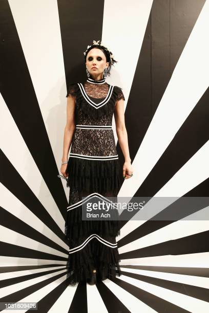 Designer Stacey Bendet poses for the Alice Olivia by Stacey Bendet presentation during New York Fashion Week The Shows at 49 Chambers St on September...