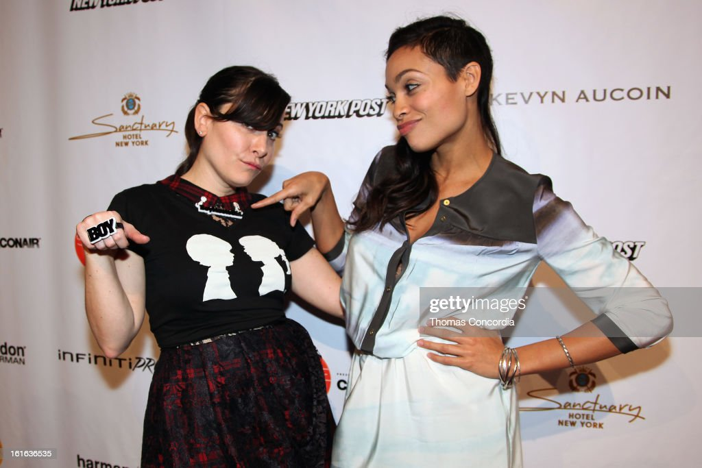 Designer Stacy Igel and actress Rosario Dawson attend Boy Meets Girl by Stacy Igel the 'Invasion Collections' Fashion Show at STYLE360 presented by Conair Fashion Pavilion on February 13, 2013 in New York City.