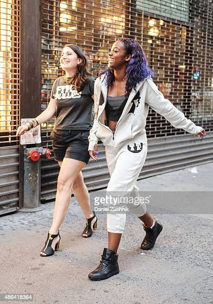 Designer Stacy Igel and Singer Justine Skye attend a fitting for the 2016 Spring NYFW at Boy Meets Girl on September 3 2015 in New York City