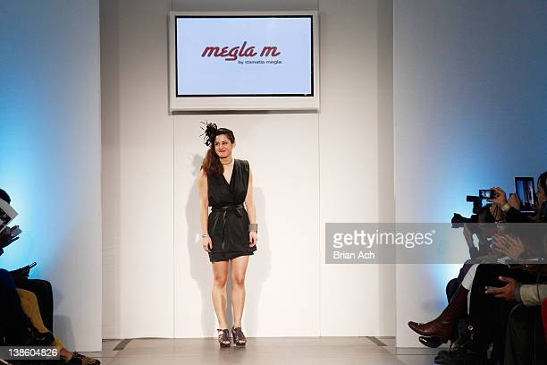 Designer Stamatia Megla walks the runway at the Megla M runway show during Nolcha Fashion Week New York at the Alvin Ailey Studios on February 9 2012...