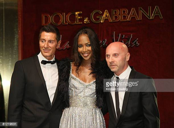 Designer Stefan Gabbana model Naomi Campbell and designer Domenico Dolce attend the Dolce Gabbana party at Baoli Port Canto during the 61st...