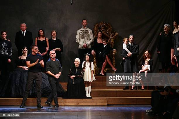 Designer Stefano Gabbana and Domenico Dolce acknowledges the applause of the audience after the runway during the Dolce Gabbana Show as a part of...
