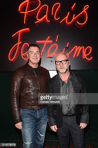 Designer Stefano Gabbana and Domenico Dolce attend 'Paris Je T'aime' party Dolce Gabbana on March 6 2016 in Paris France
