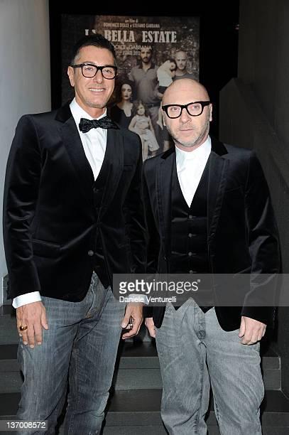 Designer Stefano Gabbana and Domenico Dolce attend the Dolce Gabbana La Bella Estate Cocktail Launch during Milan Fashion Week Menswear Autumn/Winter...