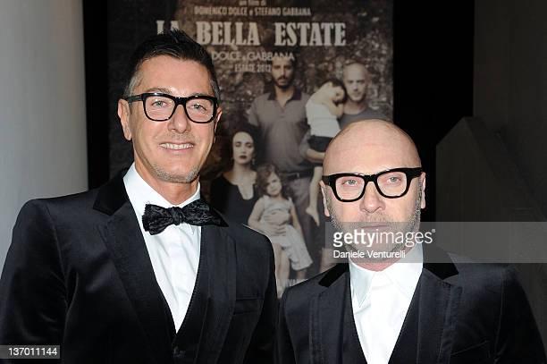 2a8b8d06767 Designer Stefano Gabbana and Domenico Dolce attend the Dolce Gabbana La  Bella Estate Cocktail Launch during