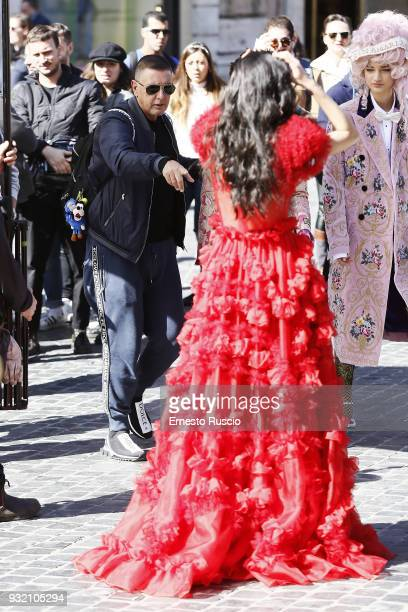 Designer Stefano Gabbana and model are seen on the set of the Dolce Gabbana campaign at Piazza Di Spagna on March 14 2018 in Rome Italy