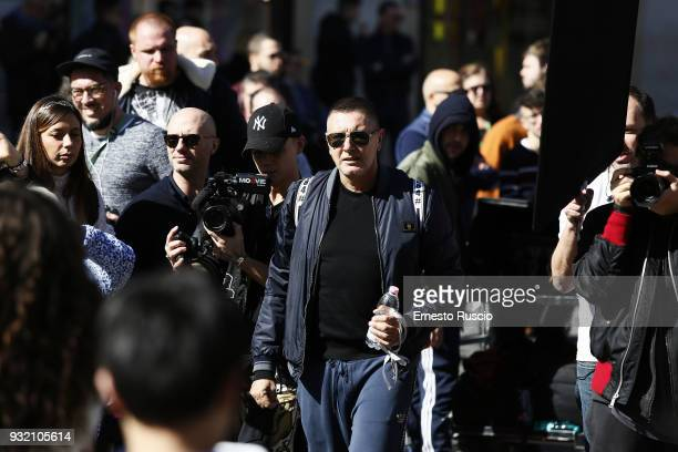 Designer Stefano Gabbana is seen on the set of the Dolce Gabbana campaign at Piazza Di Spagna on March 14 2018 in Rome Italy