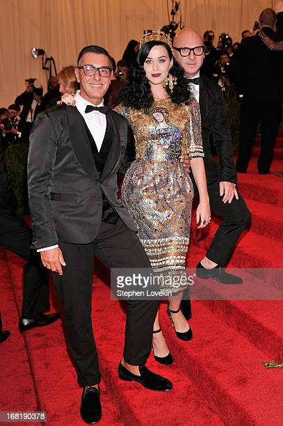 Designer Stefano Gabbana Katy Perry and designer Domenico Dolce attend the Costume Institute Gala for the 'PUNK Chaos to Couture' exhibition at the...